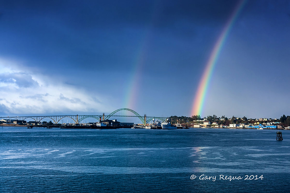Double rainbow over the Yaquina Bay Bridge, Newport Oregon